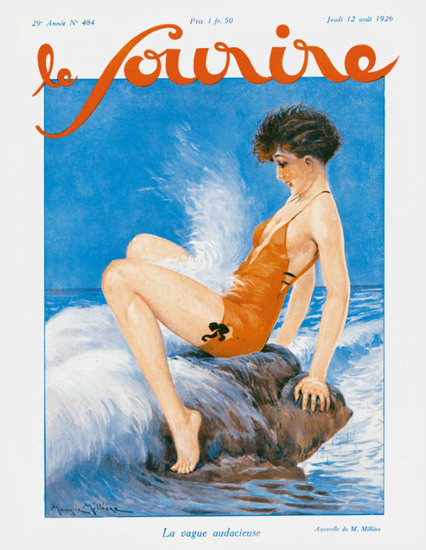 Roaring 1920s Le Sourire Magazine 1926 La Vague Audacieuse | Roaring 1920s Ad Art and Magazine Cover Art