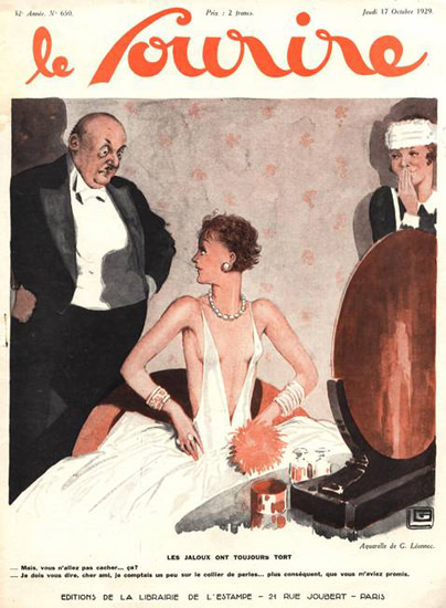 Roaring 1920s Le Sourire Magazine 1929 Jaloux Toujours Tort | Roaring 1920s Ad Art and Magazine Cover Art