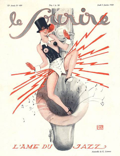 Roaring 1920s Le Sourire Magazine 1929 L Ame Du Jazz Sax | Roaring 1920s Ad Art and Magazine Cover Art
