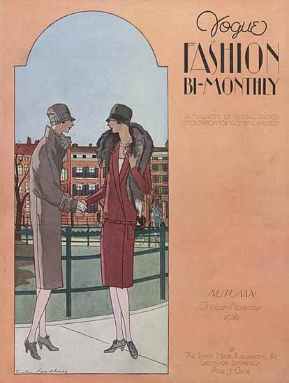 Roaring 1920s Leslie Saalburg Vogue Cover 1926-10-11 Copyright | Roaring 1920s Ad Art and Magazine Cover Art