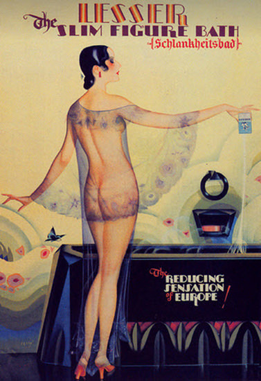 Roaring 1920s Lesser Slim Figure Bath Schlankheitsbad 1929 | Roaring 1920s Ad Art and Magazine Cover Art