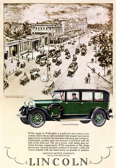 Roaring 1920s Lincoln Limousine By Willoughby 1927 | Roaring 1920s Ad Art and Magazine Cover Art