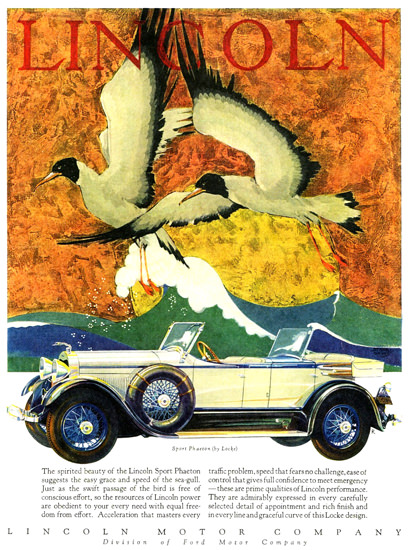 Roaring 1920s Lincoln Motor Co 1928 Sport Phaeton Locke | Roaring 1920s Ad Art and Magazine Cover Art