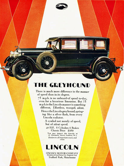 Roaring 1920s Lincoln Motor Co Greyhound Limousine 1928 | Roaring 1920s Ad Art and Magazine Cover Art