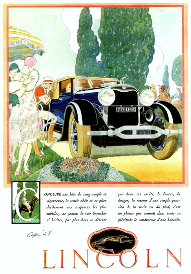 Roaring 1920s Lincoln Motor Company 1928 Club Roadster F | Roaring 1920s Ad Art and Magazine Cover Art