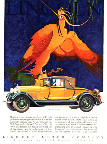 Roaring 1920s Lincoln Motor Company 1928 Club Roadster | Roaring 1920s Ad Art and Magazine Cover Art
