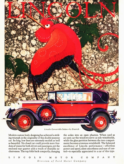 Roaring 1920s Lincoln Motor Company 1928 Convertible Dietrich | Roaring 1920s Ad Art and Magazine Cover Art