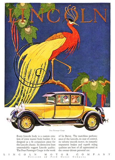 Roaring 1920s Lincoln Motor Company 1928 Coupe Le Baron | Roaring 1920s Ad Art and Magazine Cover Art