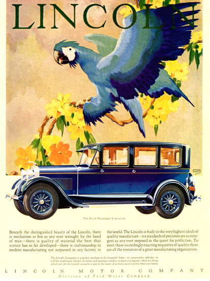 Roaring 1920s Lincoln Motor Company 1928 Limousine | Roaring 1920s Ad Art and Magazine Cover Art