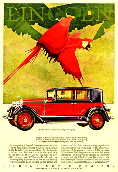 Roaring 1920s Lincoln Motor Company 1928 Willoughby | Roaring 1920s Ad Art and Magazine Cover Art