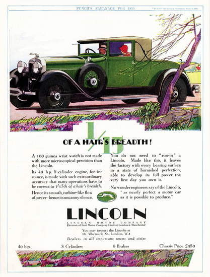 Roaring 1920s Lincoln Roadster 1929 Microscopical Precision | Roaring 1920s Ad Art and Magazine Cover Art