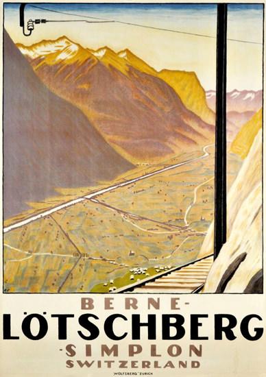 Roaring 1920s Loetschberg Berne Simplon Switzerland 1920s | Roaring 1920s Ad Art and Magazine Cover Art