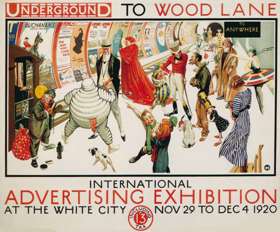 Roaring 1920s London Underground 1920 Advertising Exhibition | Roaring 1920s Ad Art and Magazine Cover Art