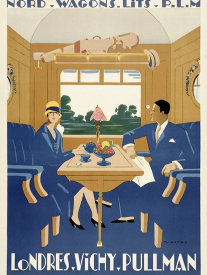 Roaring 1920s Londres Vichy Pullman Nord Wagons Lits 1920s   Roaring 1920s Ad Art and Magazine Cover Art