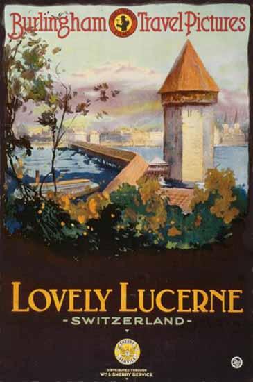 Roaring 1920s Lucerne Burlingham Travel Lovely Switzerland 1920 | Roaring 1920s Ad Art and Magazine Cover Art