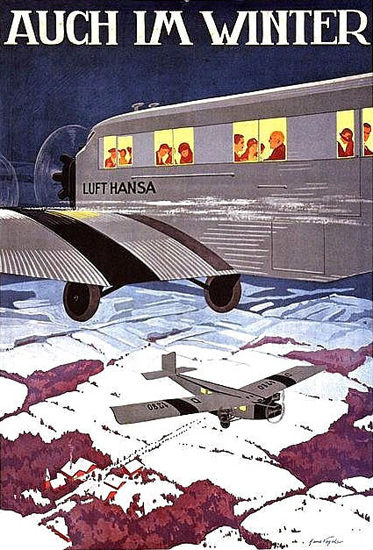 Roaring 1920s Lufthansa Auch Im Winter Hans Vogel 1920s | Roaring 1920s Ad Art and Magazine Cover Art