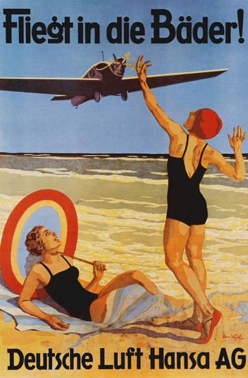 Roaring 1920s Lufthansa Fliegt In Die Baeder 1925 Hans Vogel | Roaring 1920s Ad Art and Magazine Cover Art