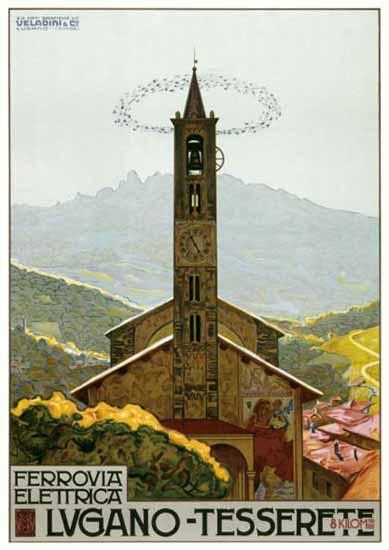 Roaring 1920s Lugano Ferrovia Electrica Tesserete Switzerland 1924 | Roaring 1920s Ad Art and Magazine Cover Art