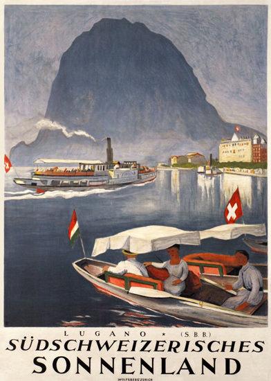 Roaring 1920s Lugano Suedschweizerisches Sonnenland Switzerland 1924 | Roaring 1920s Ad Art and Magazine Cover Art