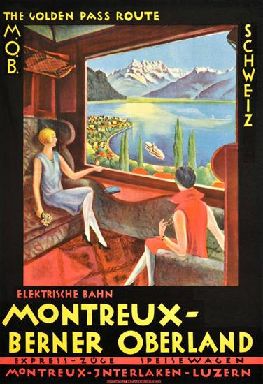 Roaring 1920s MOB Montreux Interlaken Lucerne Switzerland 1922   Roaring 1920s Ad Art and Magazine Cover Art