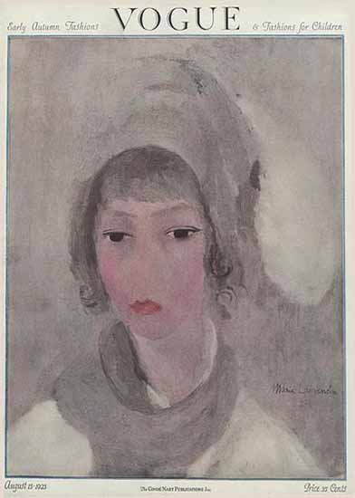 Roaring 1920s Marie Laurencin Vogue Cover 1923-08-15 Copyright | Roaring 1920s Ad Art and Magazine Cover Art