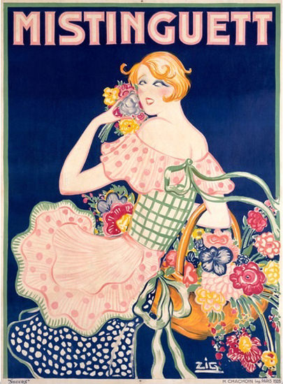 Roaring 1920s Mistinguett Folies Bergere Moulin Rouge 1928 | Roaring 1920s Ad Art and Magazine Cover Art
