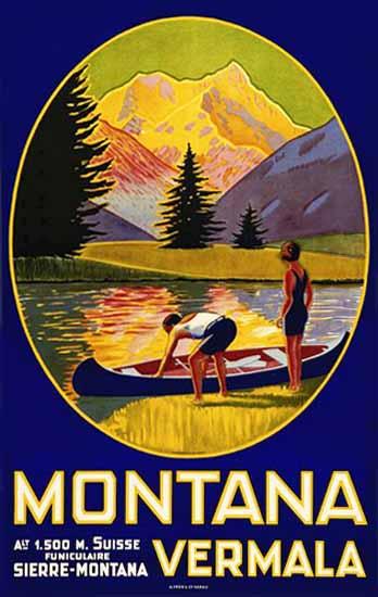 Roaring 1920s Montana Funiculaire Sierre Montana Switzerland 1926 | Roaring 1920s Ad Art and Magazine Cover Art
