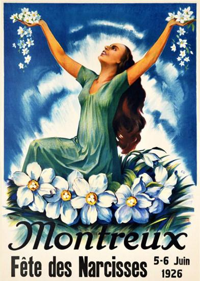 Roaring 1920s Montreux Fete Des Narcisses Switzerland 1926 | Roaring 1920s Ad Art and Magazine Cover Art