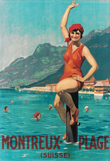 Roaring 1920s Montreux Plage Suisse Switzerland 1920s Lido | Roaring 1920s Ad Art and Magazine Cover Art