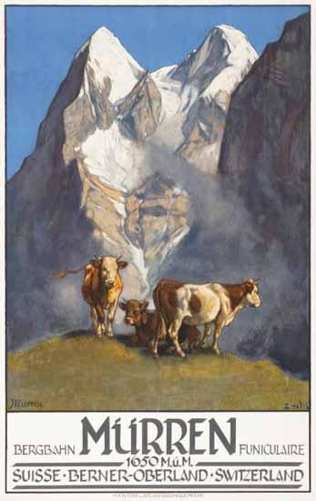Roaring 1920s Muerren Bergbahn Berner Oberland Switzerland 1925 | Roaring 1920s Ad Art and Magazine Cover Art