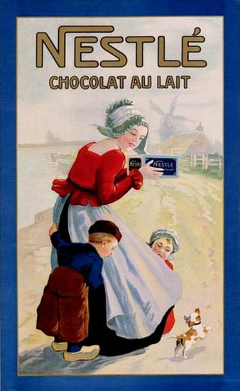 Roaring 1920s Nestle Chocolat Au Lait 1920 Netherlands   Roaring 1920s Ad Art and Magazine Cover Art