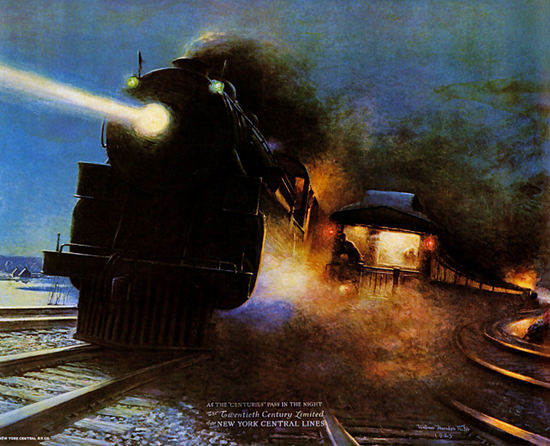 Roaring 1920s New York Central Lines 1925 Night Scene | Roaring 1920s Ad Art and Magazine Cover Art