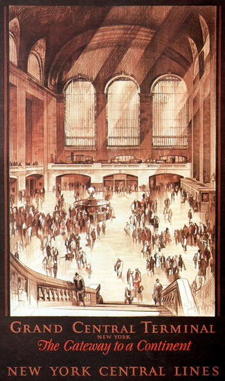 Roaring 1920s New York Central Lines Central Terminal 1927 | Roaring 1920s Ad Art and Magazine Cover Art