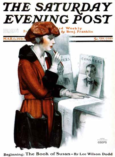 Roaring 1920s Neysa McMein Artist Saturday Evening Post 1920_03_06 | Roaring 1920s Ad Art and Magazine Cover Art