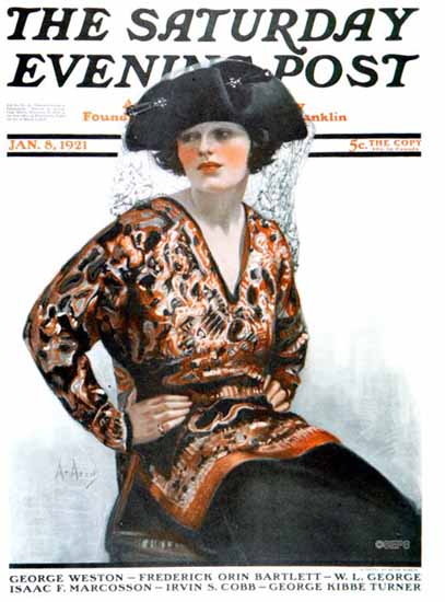 Roaring 1920s Neysa McMein Artist Saturday Evening Post 1921_01_08 | Roaring 1920s Ad Art and Magazine Cover Art