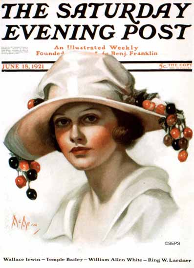 Roaring 1920s Neysa McMein Saturday Evening Post Cherry 1921_06_18 | Roaring 1920s Ad Art and Magazine Cover Art