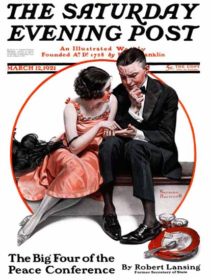 Roaring 1920s Norman Rockwell Artist Saturday Evening Post 1921_03_12 | Roaring 1920s Ad Art and Magazine Cover Art