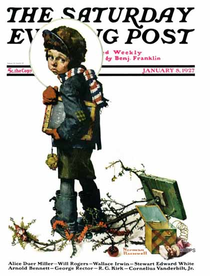 Roaring 1920s Norman Rockwell Artist Saturday Evening Post 1927_01_08 | Roaring 1920s Ad Art and Magazine Cover Art