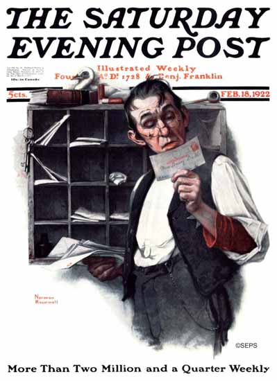 Roaring 1920s Norman Rockwell Saturday Evening Post 1922_02_18 | Roaring 1920s Ad Art and Magazine Cover Art