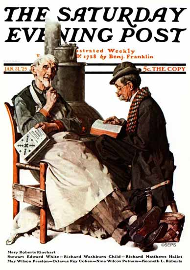 Roaring 1920s Norman Rockwell Saturday Evening Post 1925_01_31 | Roaring 1920s Ad Art and Magazine Cover Art