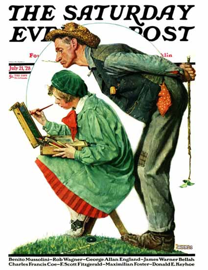 Roaring 1920s Norman Rockwell Saturday Evening Post 1928_07_21 | Roaring 1920s Ad Art and Magazine Cover Art