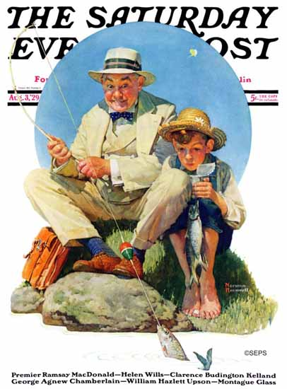 Roaring 1920s Norman Rockwell Saturday Evening Post Catch 1929_08_03 | Roaring 1920s Ad Art and Magazine Cover Art