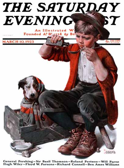 Roaring 1920s Norman Rockwell Saturday Evening Post Doc 1923_03_10 | Roaring 1920s Ad Art and Magazine Cover Art