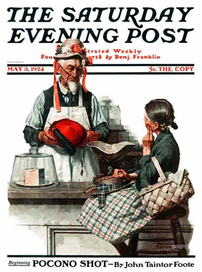 Roaring 1920s Norman Rockwell Saturday Evening Post Hat 1924_05_03 | Roaring 1920s Ad Art and Magazine Cover Art