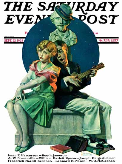 Roaring 1920s Norman Rockwell Saturday Evening Post Love 1928_09_22 | Roaring 1920s Ad Art and Magazine Cover Art