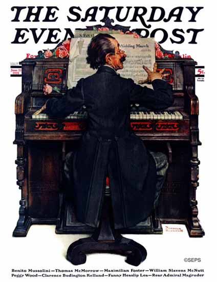 Roaring 1920s Norman Rockwell Saturday Evening Post Piano 1928_06_23 | Roaring 1920s Ad Art and Magazine Cover Art