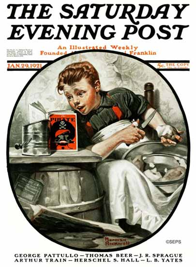 Roaring 1920s Norman Rockwell Saturday Evening Post Pirate 1921_01_29 | Roaring 1920s Ad Art and Magazine Cover Art