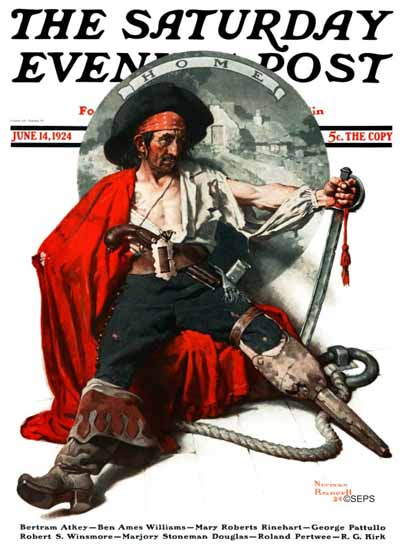Roaring 1920s Norman Rockwell Saturday Evening Post Pirate 1924_06_14 | Roaring 1920s Ad Art and Magazine Cover Art