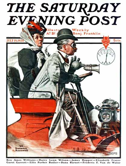 Roaring 1920s Norman Rockwell Saturday Evening Post Racer 1924_07_19 | Roaring 1920s Ad Art and Magazine Cover Art