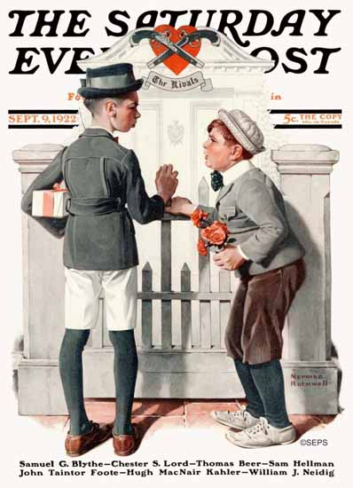 Roaring 1920s Norman Rockwell Saturday Evening Post Rivals 1922_09_09 | Roaring 1920s Ad Art and Magazine Cover Art
